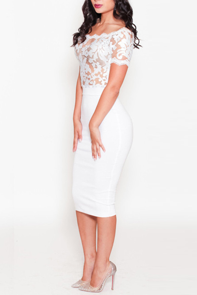 Cheap Sexy Bateau Neck Off The Shoulder Sleeveless Lace Patchwork