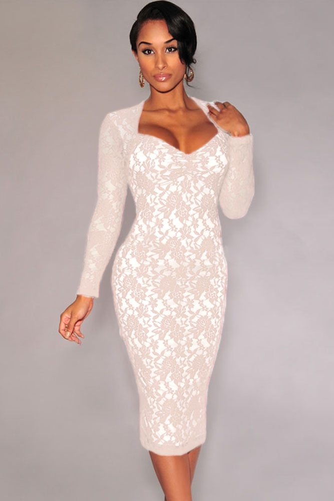 Cheap Sexy V Neck Long Sleeves Padded White Lace Sheath Knee ...