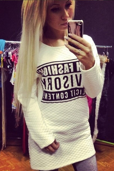Cheap European Style Long Sleeves Letters Print White Blending Regular Pullover Sweat Dress