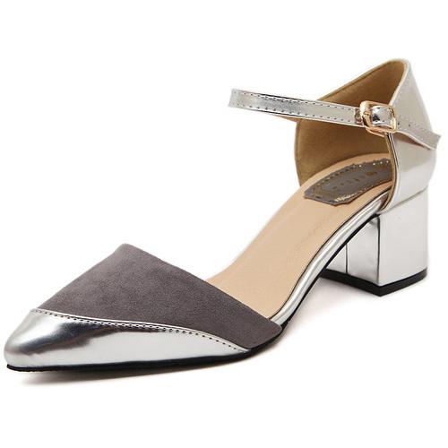 Cheap Fashion Pointed Closed Toe Chunky Mid Heel Rose Grey PU