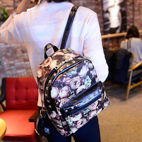 Cheapy Floral Print Zipper Desgin Women PU  Backpack