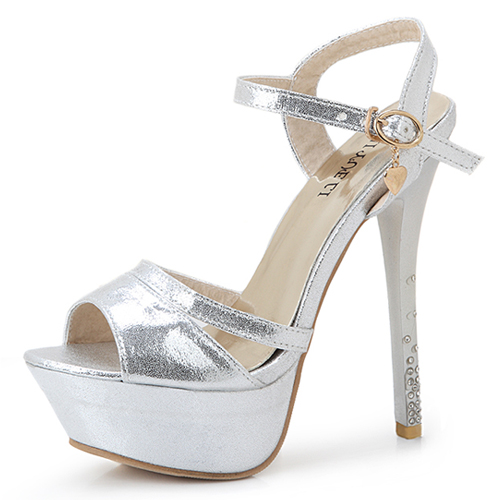 Cheap Fashion Peep Toe Rhinestone Embellished Platform Stiletto