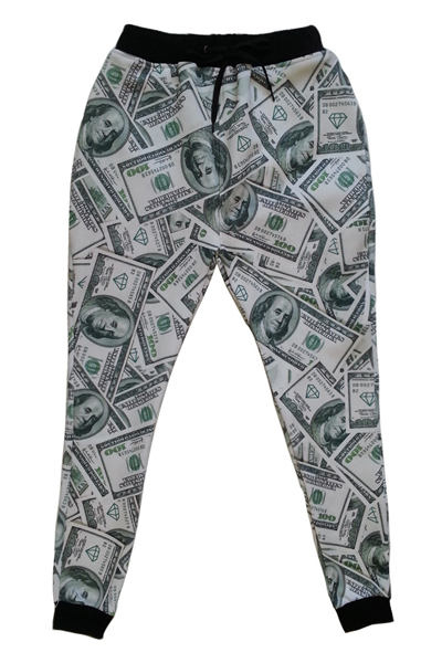 Cheap Casual Mid Waist Drawstring Tied US Dollars Print Spandex Regular Pants
