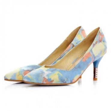 Cheap Fashion Pointed Closed Toe Print Stiletto High Heels Blue PU Pumps