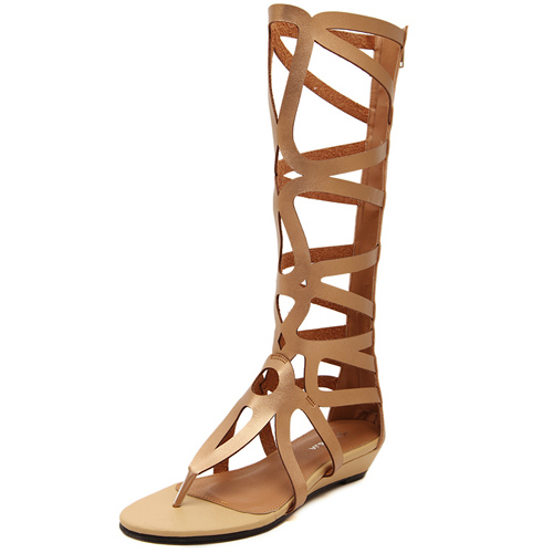 Fashion Clip Toe Hollow-out Flat Low Heel Gold PU Gladiator
