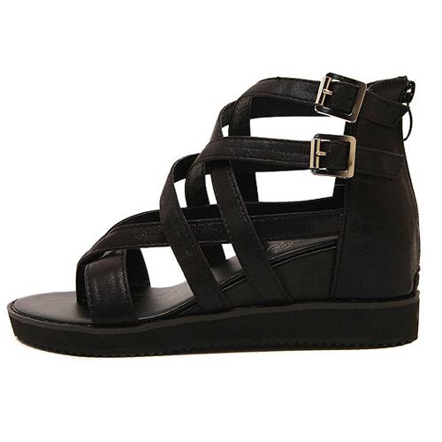 cheap fashion high wedge black pu gladiator sandals