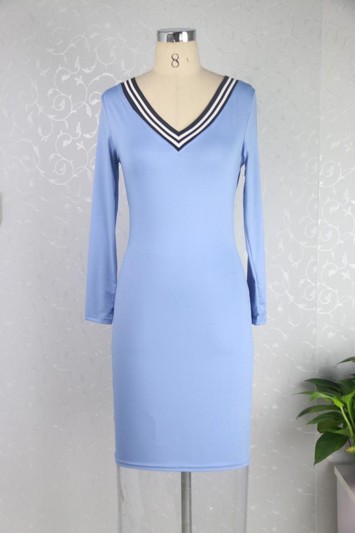 g nstige mode v ausschnitt langen rmeln grau polyester h lle knie l nge dress dresses. Black Bedroom Furniture Sets. Home Design Ideas