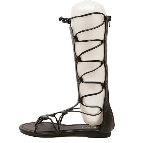 Stylish Flat Low Heel Gladiator Black PU Sandals