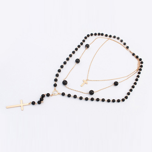 cheap fashion beaded multi layered metal necklace necklace