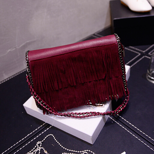 Cheap Women Fashion Tassel Design Solid Wine Red PU Slanting Bag