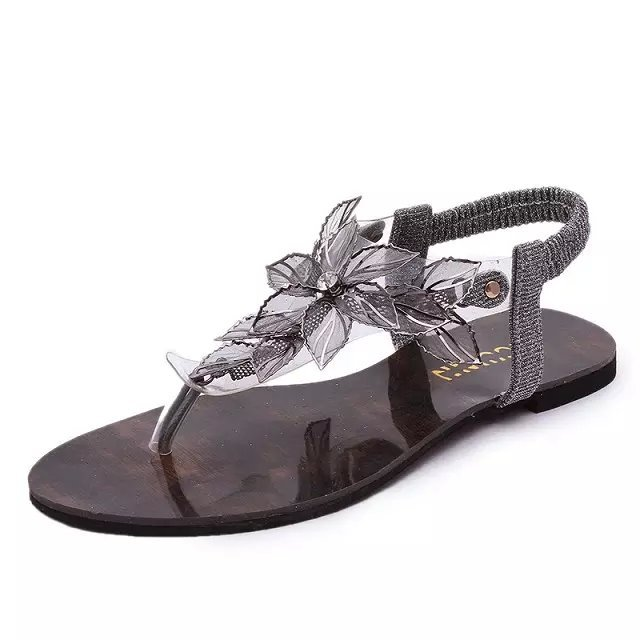 Cheap Fashion Clip Toe Flower Embellished Flat Low Heel