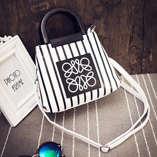Cheap Women Fashion Zipper Design Patchwork Striped White PU Slanting