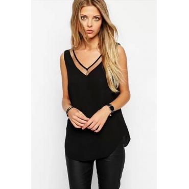 Cheap Sexy V Neck Sleeveless Hollow-out Mesh Patchwork Solid Black Chiffon T-shirt