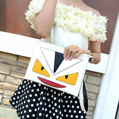 Cheap Fashion Patchwork Zipper Desgin White PU Clutches Bag