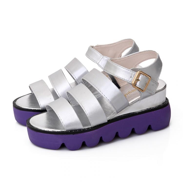 Cheap Fashion Flat Low Heel Silver PU Gladiator Sandals