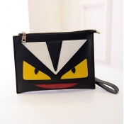 Cheap Fashion Patchwork Zipper Desgin Black PU Clutches Bag