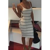 Sexy U Neck Spaghetti Strap Sleeveless Backless Striped White Blending Sheath Knee Length Dress