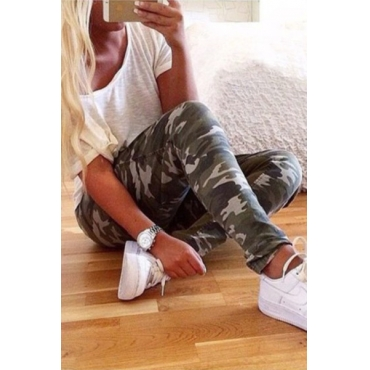 Casual Patchwork Camouflage Polyester Regular Pants PJY150702710