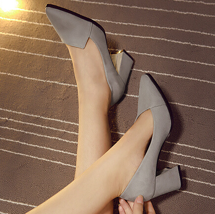 Fashion Pointed Closed Toe Chunky High Heel Grey PU Basic Pumps