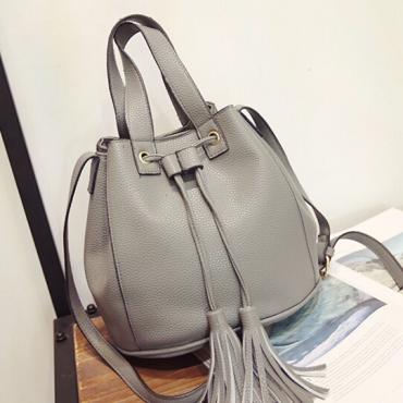 Women Fashion String Tied Solid Grey PU  Clutches Bag