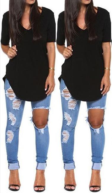 Casual V Neck Short Sleeves Asymmetrical Solid Black Blending T-shirt