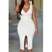 Sexy U Neck Tank Sleeveless Front Zipper Design Split White Polyester Sheath Knee Length Dress