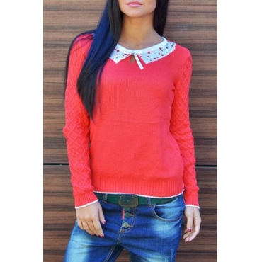Fashion O Neck Long Sleeves Red Blending Pullover PY150805703-1