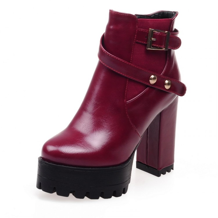 Winter Fashion Toe Rodada Zipper Projeto Chunky Super High Heel Red PU tornozelo Buckle Botas