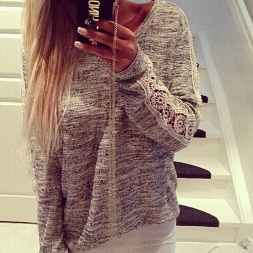 Fashion O Neck Long Sleeves Grey Blending T-shirt