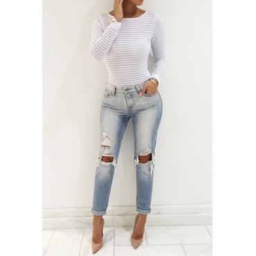 Sexy O Neck Long Sleeves Striped White Polyester T-shirt