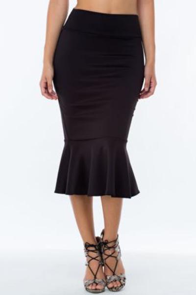 fashion solid black blending trumpet mermaid knee length skirt