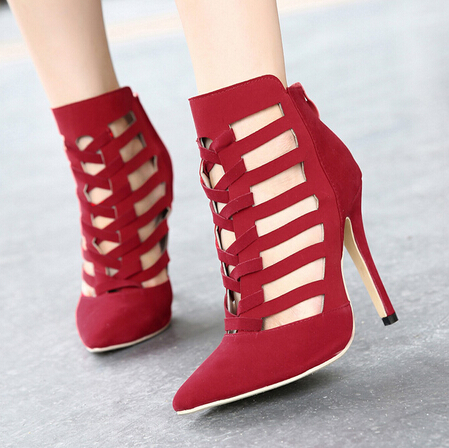Fashion Pointed Closed Toe Cut-out Stiletto Super High Heel Red PU Basic Pumps