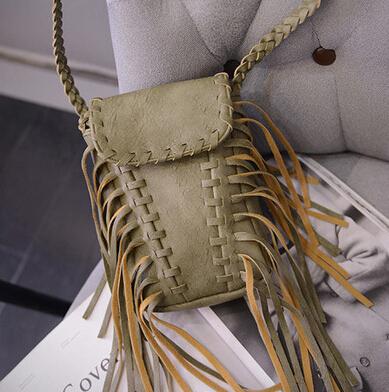 Women Fashion Tassel Shaped Green PU Slanting Bag