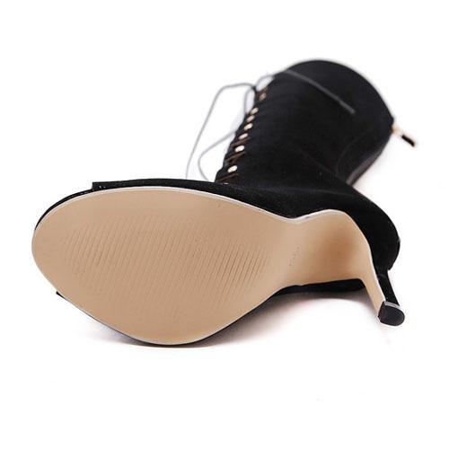 Moda Peep Toe Ronda Hueco-hacia fuera con cordones estilete Súper Bombas del tacón alto Negro PU Básica