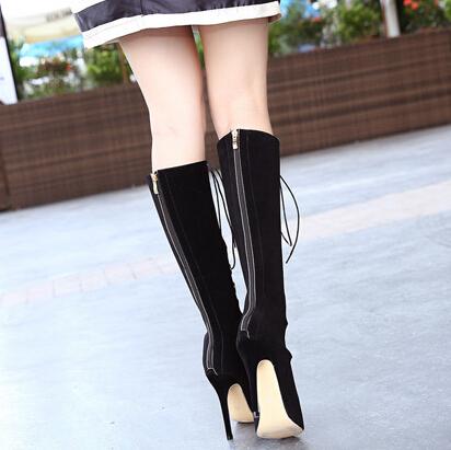 Модный раунд Peep Toe Hollow-Out Lace-up Stiletto Super High Heel Black PU Основные насосы