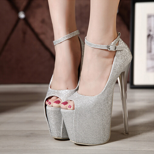 Fashion Round Peep Toe Platform Stiletto Super High Heel Silver PU ...