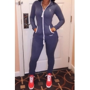 Sexy V Neck Long Sleeves Front Zipper Design Patchwork Polyester One-piece Regular Hooded Jumpsuit