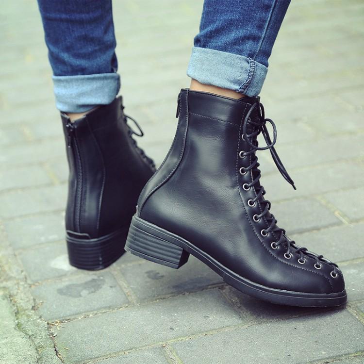 Primavera de otoño de moda punta redonda de encaje hasta el tacón grueso negro PU negro martines botas