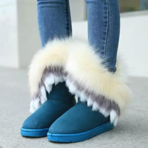 Plumas de dedo del pie redondo de moda de invierno decorado Slip-on plana de tacón bajo PU azul mediados de botas de nieve de becerro