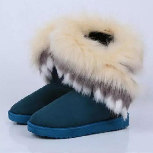 Inverno moda rodada toe penas decorados slip-on plana baixo salto azul PU meados de bezerro neve botas