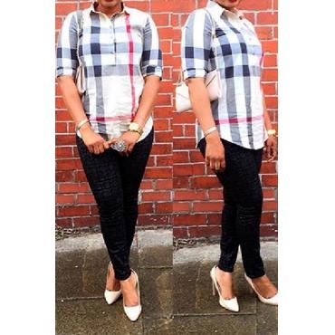 New Style V Neck Long Sleeve Plaids Print Khaki Cotton Blend Shirt
