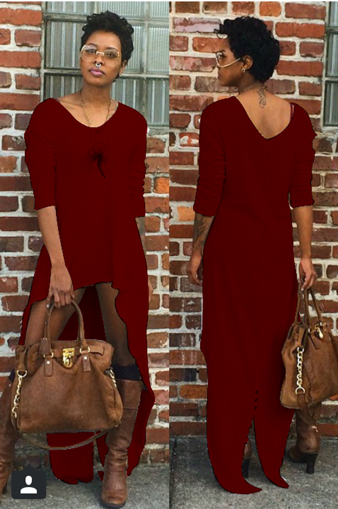 Sexy V Neck Long Sleeves Asymmetrical Red Ankle Length Dress