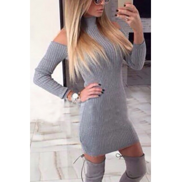 Fashion Turtleneck Off the Shoulder Long Sleeves Grey Polyester Sheath Mini Womens Dresses