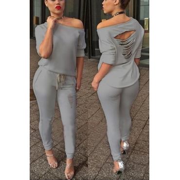 Fashion Half Sleeves Broken Holes Design Hollow-out Grey Cotton Blend Two-piece Pants Set