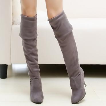 Inverno moda rodada toe slip em stiletto salto alto camurça cinza sobre as botas cavalier joelho