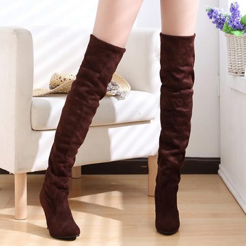 зимней моды раунд скольжения пальца ноги на высокой пятки шпильках коричневой замши над коленом кавалер сапоги