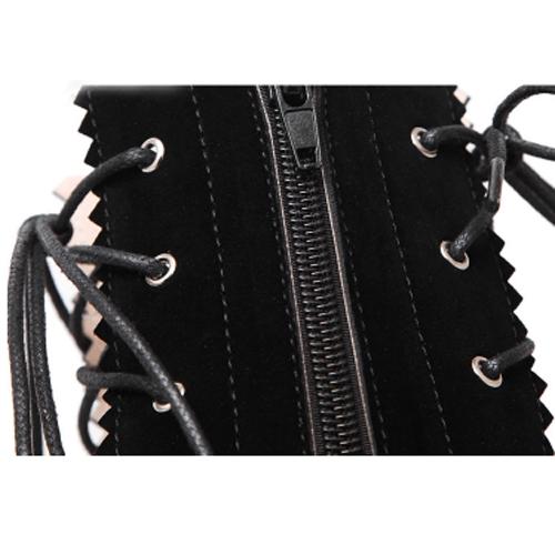 весна осень круглый пальца ноги щели молния дизайн зашнуровать стилет супер высокой пятки черный замша колено высокие сандалии