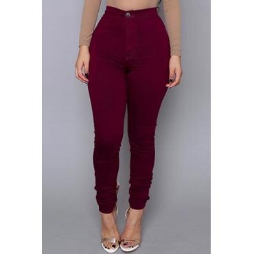 Casual Mid Waist Zipper Design Wine Red Cotton Blend Skinny Pants