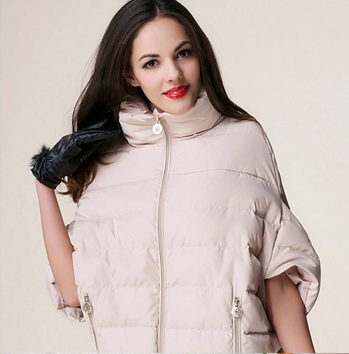 Fashion Mandarin Collar Long Sleeves Zipper Design khaki Polyester Cape type Down Jacket