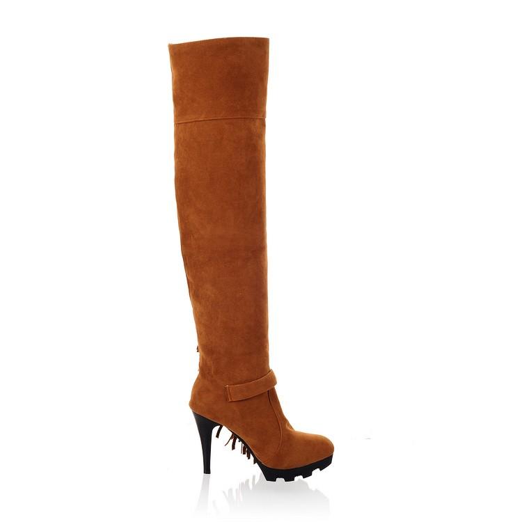Moda Ronda del dedo del pie del estilete de Invierno de Super High Heels amarillo PU cordones sobre los cargadores de la borla de la rodilla